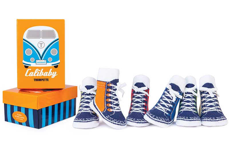 6 pairs of cotton baby socks designed to look like high top sneakers with 3D faux laces.  In gift box.