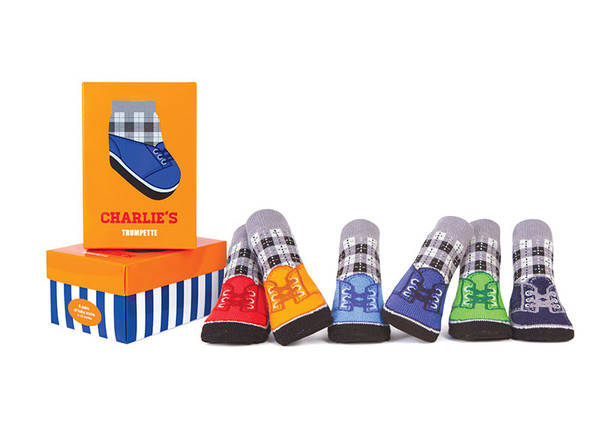 6 pairs of cotton baby socks designed to look like shoes.  In a gift box. For ages 0 - 12 months.