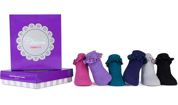 6 pairs of jewel tone cotton baby socks with ruffles at the ankle.  For infant girls ages 0-12 months.  In a gift box.