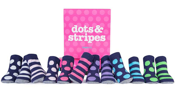 6 pairs of cotton baby socks in a gift box.  One sock has polka dots and the other has stripes.  Navy based with pink, purple, blue, green or white dots and stripes.