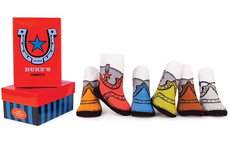 6 pairs of cotton baby socks designed to look like cowboy boots.  In bright colors in a gift box.  For boys and girls.