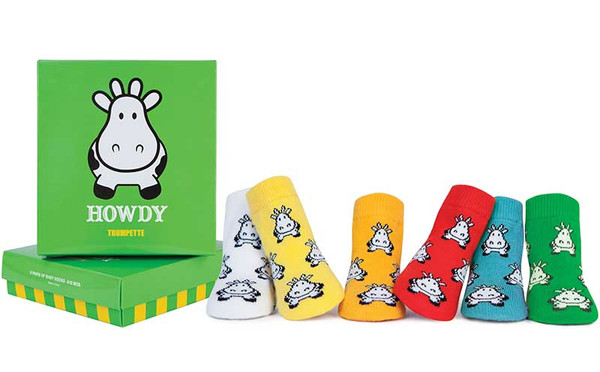 6 pairs of cotton baby socks in a gift box.  Cow designs. White, Yellow, Orange, Red, Blue and Green Socks.