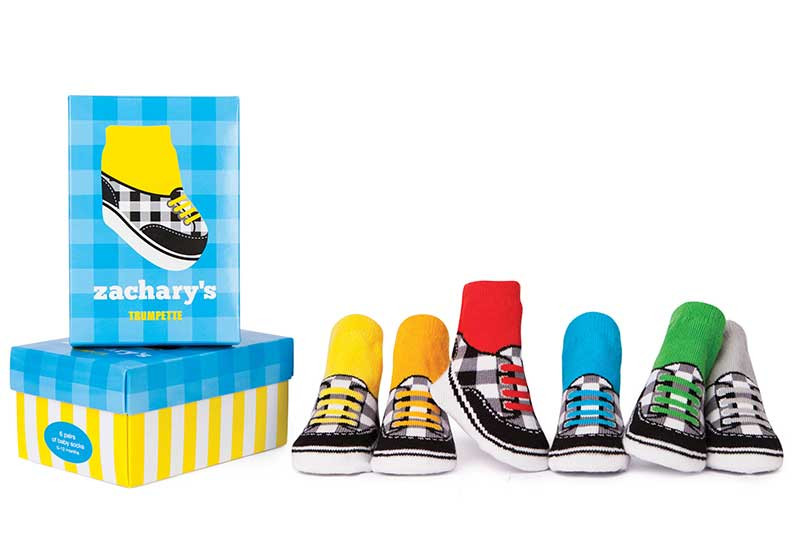 6 pairs of cotton baby socks designed to look like athletic shoes in gift box. For boys ages 0 - 12 months.