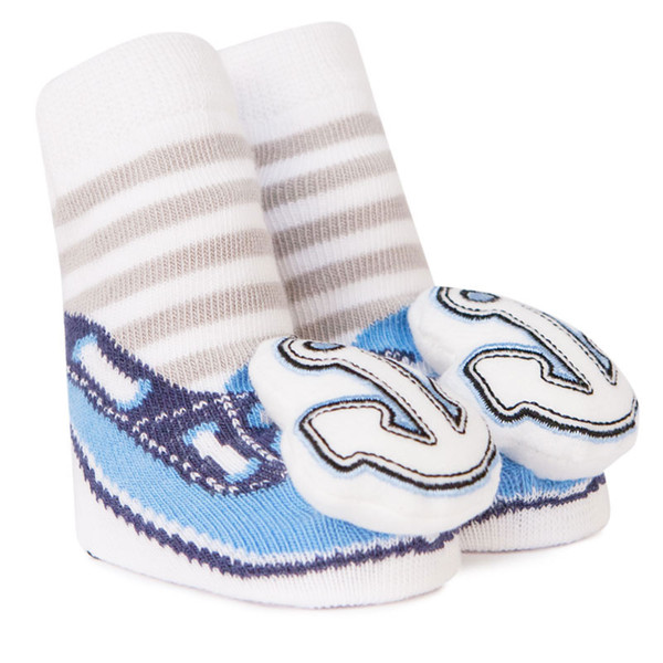 Cotton baby socks that look like boat shoes and have a anchor rattle attachment on the toe.  In a gift box. For ages 0 - 12 months