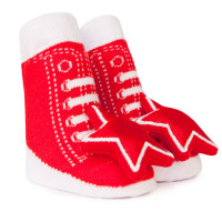 Cotton Baby socks designed to look like a red high top sneaker.  Star Rattle attachment on toe.  In gift box.