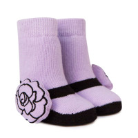White baby socks with red rose rattle attachment and black faux mary jane. In gift box.  For girls.