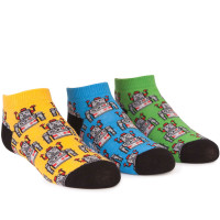 Anklet socks with robots on them.  In tin can that can be used as a piggy bank.
