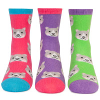 Socks for kids, girls, with cats on them.  Cat socks. 3 pack