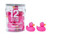 12 pink rubber ducks great for bath time and play. In durable container.  Babies, Infants, Toddlers and kids