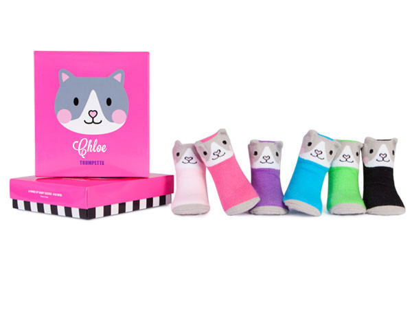 6 pairs of brightly colored baby socks with cat faces.  In a gift box. ages 0 - 12 months