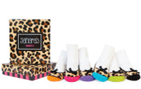 6 pairs of cotton baby socks for girls in a gift  box.  Leopard print detail on toe and 3D bow.