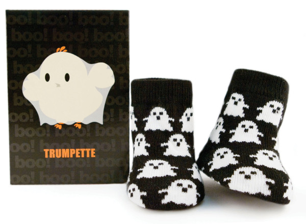 One pair of ghost socks for infants and babies. Perfect for Halloween.  Gift box.