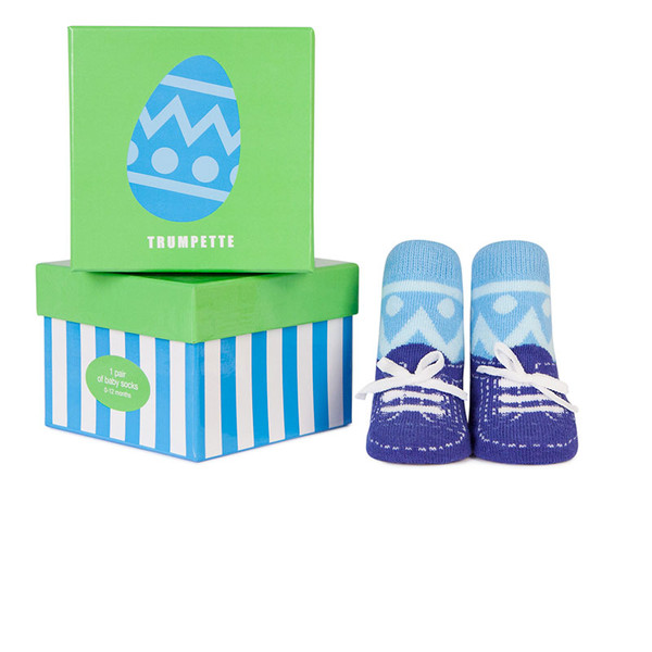 Cotton sock with Easter egg design and blue low top sneakers for baby boys.  In a gift box. Baby Showers
