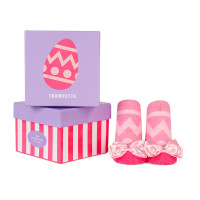 Cotton sock with Easter egg design and pink low top sneakers for baby girls.  In a gift box. Baby Showers