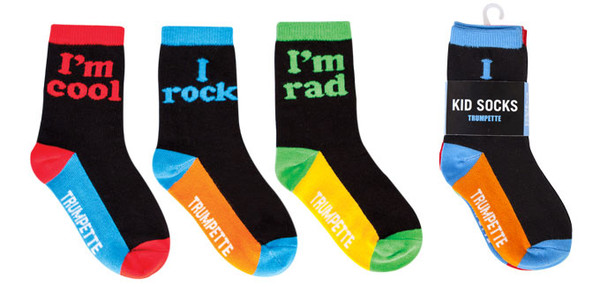 "Kid's socks with the words ""I Rock"", ""I'm Rad"", and ""I'm Cool"" woven into the ankles. For 2-3 year olds"