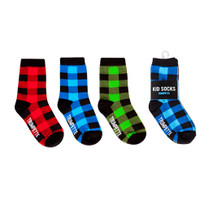 Buffalo Plaid socks in red, blue and green for kid's ages 2 - 3 years old