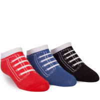 "3 pairs of cotton socks with ""tennis shoe"" toes for kids ages 2 - 8."
