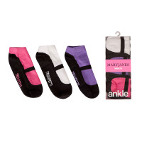 Kid's Mary Jane anklet socks in cotton for girls. 3 pairs. Pink, White and Lavendar