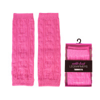 Pink Cable Knit Legwarmers for 0 - 2T baby girls.