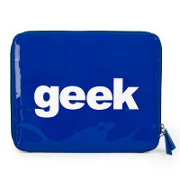 """One blue patent PVC ipad case with the word """"geek"""" stitched on front."""