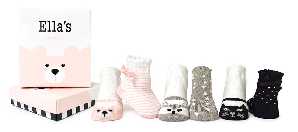 Baby Girl Socks in pink, grey and black. 6 pairs of cotton socks in a gift box.  Cat, bear and Fox designs.  Stripes, dots and triangle pattern.