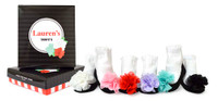 Baby socks for girls.  6 pairs of cotton baby socks in a gift box. Designed to look like ballet slippers with 3D pom pom.