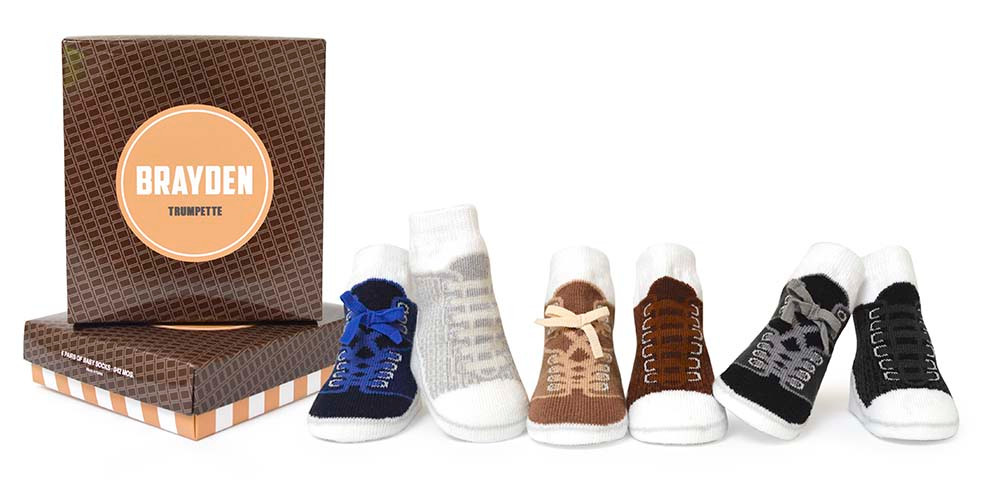 Boys cotton baby socks designed to look like high top sneakers. 6 pairs of socks in a gift box.