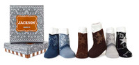 Boys baby socks designed to look like cowboy boots. 4 pairs of cotton socks in a gift box.