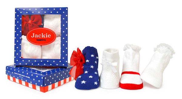 Girls baby socks in red, white and blue. Perfect for the 4th of July.  4 pairs of cotton socks  in a gift box.