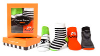 Halloween themed baby socks. Cotton. 4 pairs.  Boys and Girls.  Gift box.