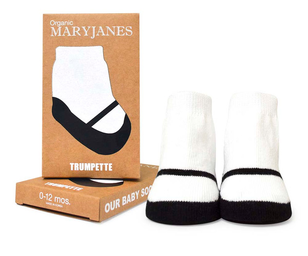 Girls Baby Socks designed to look like Maryjane shoes.  One pair of cotton socks in gift box.  Black and white.