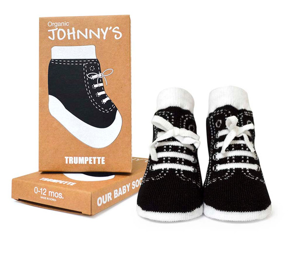 Boys cotton baby socks designed to look like high tops. Faux laces. One pair of baby socks in gift box.