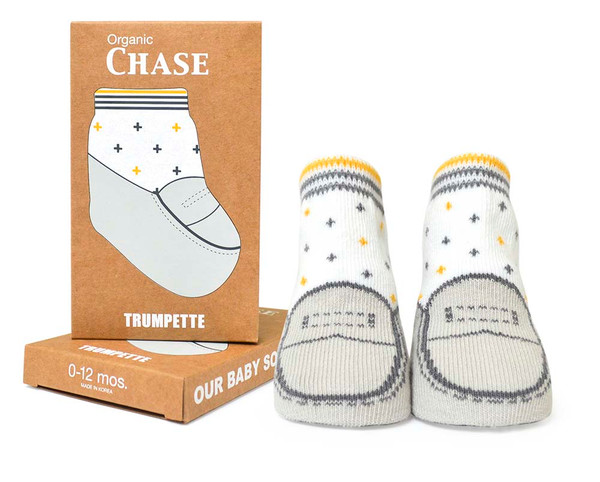 Boys baby socks in gift box. One pair of organic cotton socks with shoe design.
