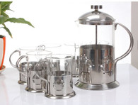 French Press Coffee Maker (30oz) and 6 Coffee Cups (6.8oz) BLT7
