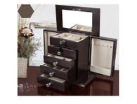 "Kendal Large Wooden Jewelry Box Locked w/ a Key (12.5""L x 7""W x 11""H) WJC-05DC"