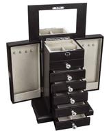 "Kendal Large Wooden Jewelry Box Locked w/ a Key (11""L x 6.75""W x 14.25""H) WJC-03DC"