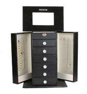 "Kendal Large Leather Jewelry Box Locked w/ a Key (11""L x 6.75""W x 14.25""H) LJC-03BK"