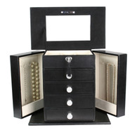 "Kendal Large Leather Jewelry Box Locked w/ a Key (12.5""L x 7""W x 11""H) LJC-05BK"