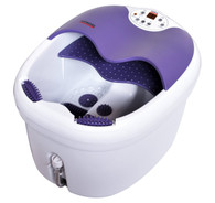 All in one foot spa bath massager w/ motorized rolling massage, heat, wave, O2 bubbles, water fall, digital temperature control LED display FBD1023