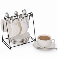 Porcelain Tea Cup and Saucer Coffee Cup Set with Saucer and Spoon 20 pc, Set of 6 SI-BFLY-W