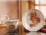 Porcelain Tea Cup and Saucer Coffee Cup Set with Saucer and Spoon, Set of 2