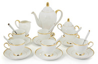 Porcelain Tea Cup and Saucer Coffee Cup Set with Saucer, Spoon, Sugar, Creamer 21 PC TC-CMJ