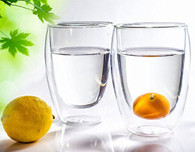 Double Wall Beverage Coffee Wine Glasses Cup Set of 4 (12 oz)