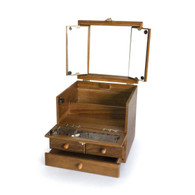 Wooden Cosmetic Case / Box with Adjustable Mirror & Drawer (OAK)