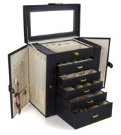 Kendal Huge Leather Jewelry Box / Case / Storage LJC-SHD5BK (black)