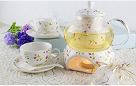 Kendal 27 oz tea maker teapot with a Porcelain warmer and 2 set of Porcelain Cup and Saucer and Spoon SI-QCMG (2-QCMG)