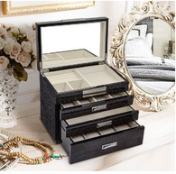 Kendal Quality Wooden Jewelry Box Case Storage with Piano Paint (Black)