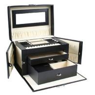 Kendal Black Leather Jewelry Box / Case / Storage / Organizer With Travel Case and Lock LJC02SBK