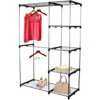 Double Rod Portable Clothes Storage Rack Freestanding Closet Wardrobe with Steel and Plastic Frame CL68