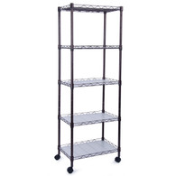 Adjustable Wire Metal Shelving Rack with Casters (5-Tier)